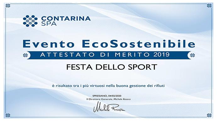 La Festa dello Sport 2019 premiata come evento ecosostenibile